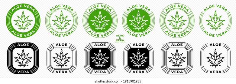 Stamps for packaging of cosmetic products. The label is aloe vera extract. Plant icon with flowing ingredient line. Vector set.