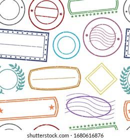Stamps Pattern. Seamless Background Symbols. Postmark Drawn Sketch Design Vector.
