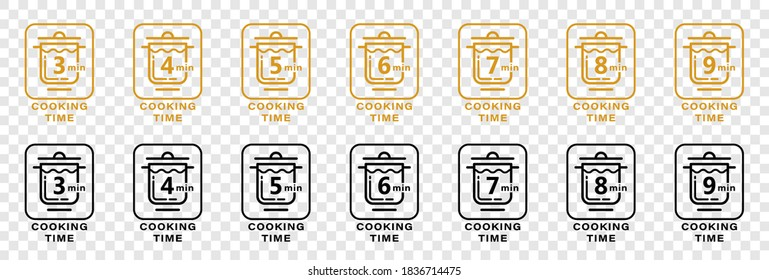 Stamps for product packaging. Recommended cooking time for pasta. Flat icon of pan and boil cooking. Vector set.