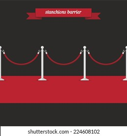 Stanchions barrier. Flat style design - vector