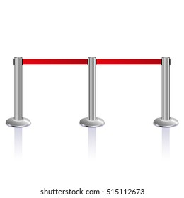 Stanchions barrier isolated on white, Red carpet fence, vector illustration