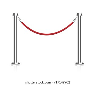 Stanchions barrier. Barrier rope vector illustration. Rope barrier with a vip