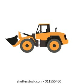 Stand alone Icon in flat style ( front wheel loader )