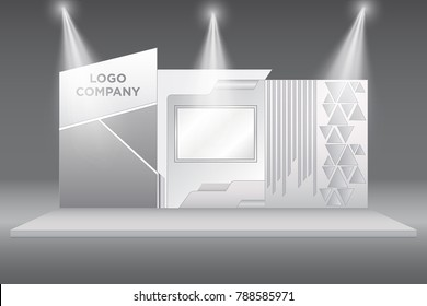 stand booth exhibition backdrop with screen and spotlight. Vector editable.
