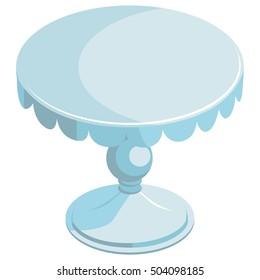 Stand for cake. White wedding festive tray on one leg. Isolated. On white background.