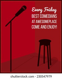 Stand up comedy event poster. Retro style vector illustration with black silhouette of microphone and bar chair.