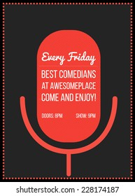 Stand up comedy event poster. Vector illustration of red microphone's silhouette with text.