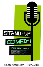Stand Up Comedy! (Flat Style Vector Illustration Performance Show Poster Design) Text Box Template