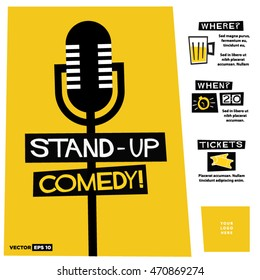 Stand Up Comedy! (Flat Style Vector Illustration Performance Show Poster Design) with Where, When And Ticket Details