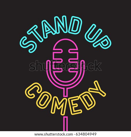 Stand up comedy logo, icon. Vector design illustration on white background.