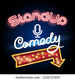 stand up comedy neon lettering with red arrow