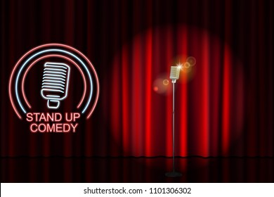 Stand up comedy with neon microphone sign and red curtain backdrop. Comedy night stand up show or karaoke party. Vector illustration