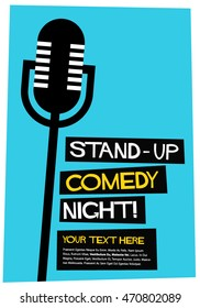Stand Up Comedy Night! (Flat Style Vector Illustration Performance Show Poster Design) With Text Box Template