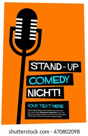 Stand Comedy Night Flat Style Vector Stock Vector (Royalty Free ...