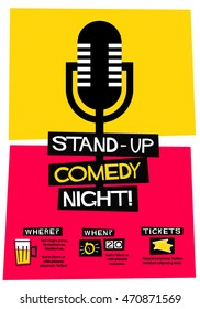 Stand Up Comedy Night! (Flat Style Vector Illustration Performance Show Poster Design) with Where, When And Ticket Details