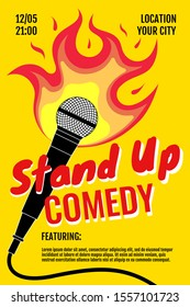 Stand up comedy night live show A3 A4 poster design template. Standup microphone with fire on yellow background. Hot jokes roast concept flyer. Vector open stage mic event illustration