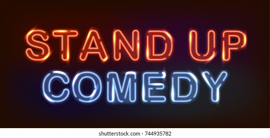 Stand up comedy red and blue neon lights on dark background.