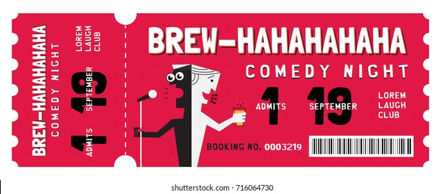 Stand Up Comedy Show Entry Ticket. Modern elegant design template of Event Ticket.