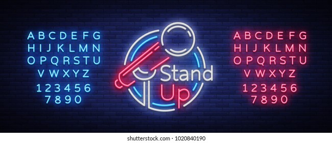 Stand Up Comedy Show is a neon sign. Neon logo, bright luminous banner, neon poster, bright night-time advertisement. Stand up show. Invitation to the Comedy Show. Vector. Editing text neon sign