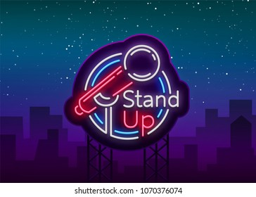 Stand Up Comedy Show is a neon sign. Neon logo, symbol, bright luminous banner, neon-style poster, bright night-time advertisement. Stand up show. Invitation to the Comedy Show. Vector