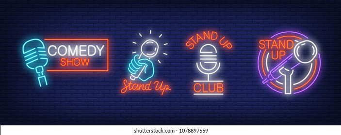 Stand up comedy show neon signs collection. Neon sign, night bright advertisement, colorful signboard, light banner. Vector illustration in neon style.