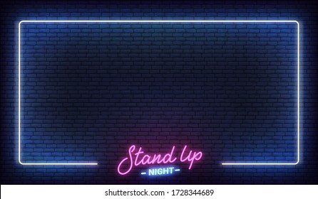 Stand up comedy show neon template. Stand up lettering and glowing neon border frame