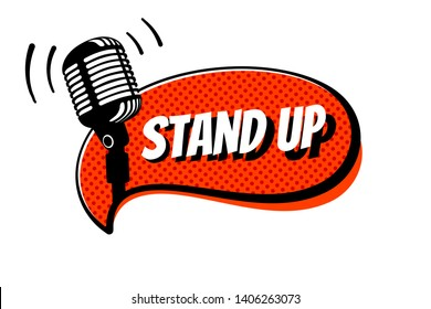 Stand up comedy show sign. Retro studio table microphone with inscription on red comics bubble. Vintage vector illustration