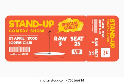 Stand up comedy show ticket isolated on white background. Ticket template for comedy show, performance. Vector
