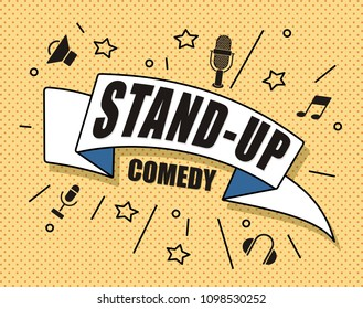 Stand up comedy, vector illustration