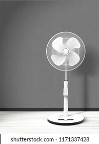 Stand fan mockup in 3d illustration with cozy interior background