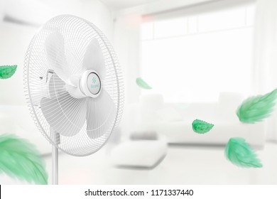 Stand fan moving the air with flying green leaves on cozy white bokeh living room in 3d illustration