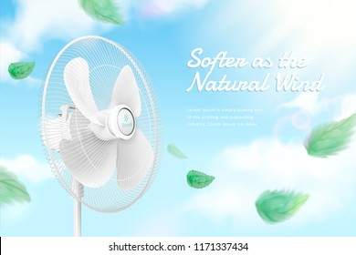Stand fan moving the air on blue sky background in 3d illustration, green leaves blowing in the air