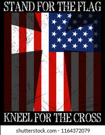 I Stand For The Flag And Kneel For The Cross T-shirt Vector Graphic Design For American Patriotic