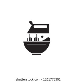 Stand food mixer black vector concept icon. Stand food mixer flat illustration, sign
