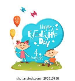 Stand with Friendship Day title, children, balloons, flowers and grass. Vector illustration.