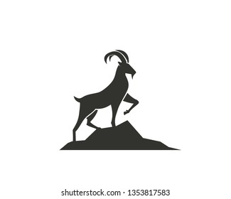 Stand goat on rock logo design inspiration