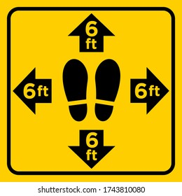 Stand Here Floor Sticker for Social Distancing Measure in Stores or Supermarket Yellow Sign
