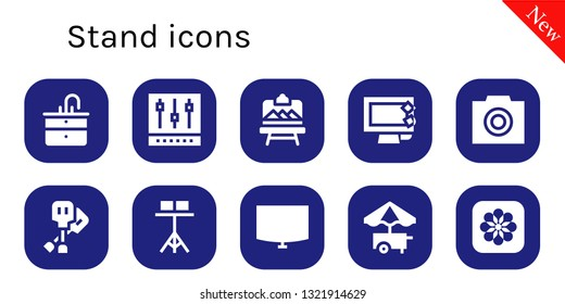 stand icon set. 10 filled stand icons.  Collection Of - Sink, Mixer, Artboard, Display, Photo, Paddles, Stand, Night Food cart, Photos