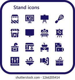 stand icon set. 16 filled stand icons. Simple modern icons about  - Stand, Display, Canvas, Mixer, Night stand, Artboard, Sink, Stationery, Insert coin