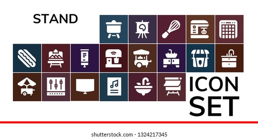 stand icon set. 19 filled stand icons.  Simple modern icons about  - Canvas, Hotdog, Food cart, Mixer, Night stand, Poster, Sink, Artboard, Roll up,