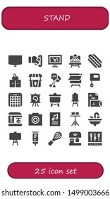stand icon set. 25 filled stand icons.  Simple modern icons about  - Night stand, Insert coin, Display, Artboard, Hotdog, Sink, Paddles, Canvas, Mixer, Stationery, Photo