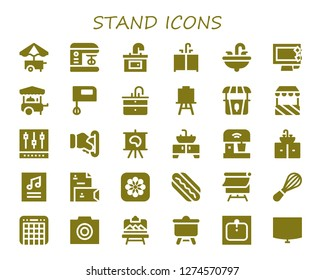 stand icon set. 30 filled stand icons. Simple modern icons about  - Food cart, Mixer, Sink, Display, Canvas, Stand, Insert coin, Poster, Stationery, Photos, Hotdog, Photo, Artboard