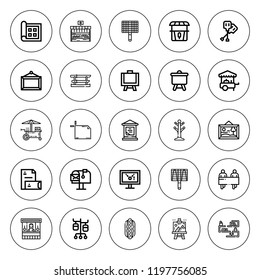 Stand icon set. collection of 25 outline stand icons with artboard, banners, bbq grill, canvas, display, food cart, hotdog, mail box, iv pole, paddles icons. editable icons.