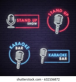 Stand Up and Karaoke bar neon sign. Neon sign, bright signboard, light banner.