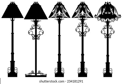 stand lamp black and white vector design set - detailed floor lamp silhouettes