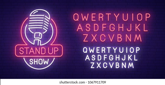 Stand Up neon sign, bright signboard, light banner. Stand Up logo, emblem. Neon sign creator. Neon text edit