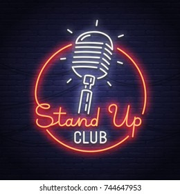 Stand Up neon sign. Neon sign. Stand Up logo, emblem and label. Bright signboard, light banner.
