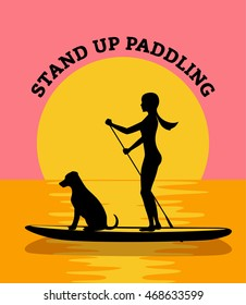 Stand up paddle board sunset vector illustration. woman and dog silhouette