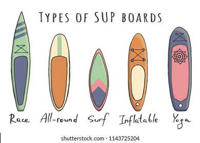 Stand Up Paddle boarding elements collection. SUP surfing cartoon vector illustration set of different boards types like race, all-round, surf, inflatable and yoga supboards isolated on a white