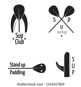 Stand up paddle logos on white background. SUP logos vector illustration.